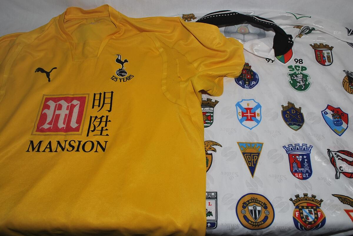 f19e0630d Box comprising a good quantity and selection of replica football shirts and  scarves. Teams include Portsmouth